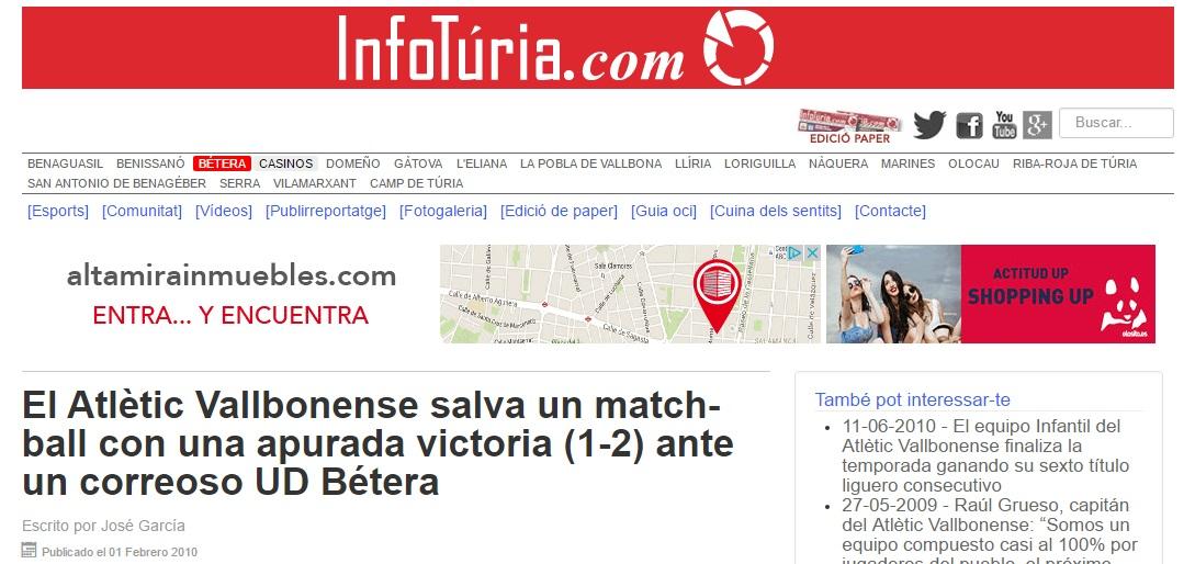 El Atlétic Vallbonense Salva Un Match-ball Con Una Apurada Victoria (1-2) Ante Un Correoso UD Bétera