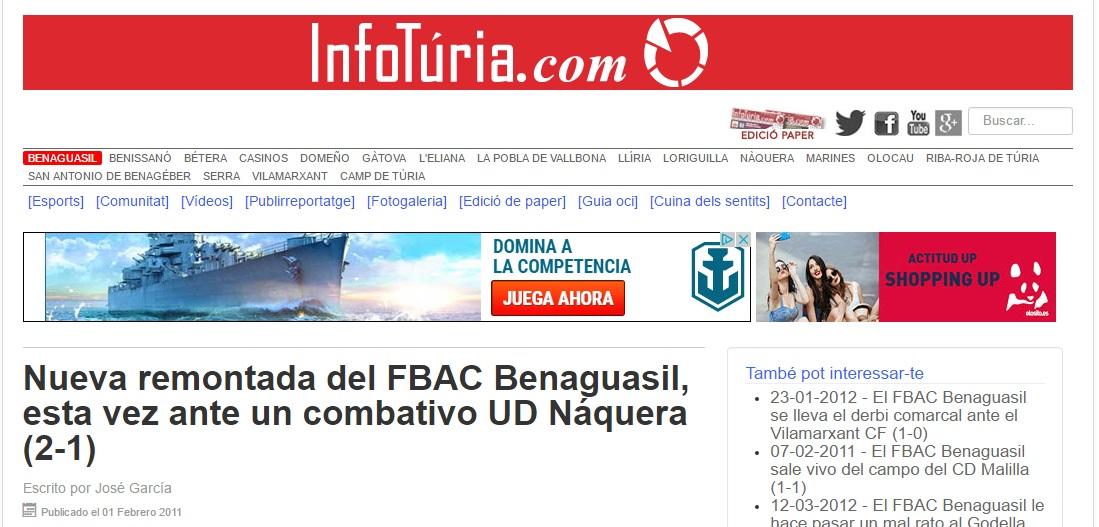 Nueva Remontada Del FBAC Benaguacil, Esta Vez Ante Un Combativo UD Náquera (2-1)