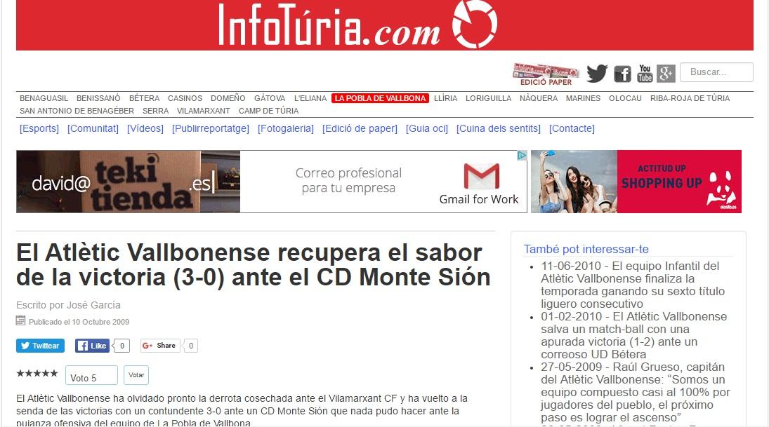 El Atlétic Vallbonense Recupera El Sabor De La Victoria (3-0) Ante El CD Mont Sión