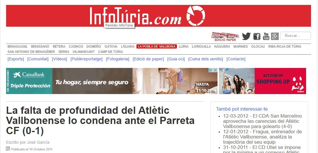 La Falta De Profundidad Del Atlétic Vallbonense Lo Condenan Ante El Parreta CF (0-1)