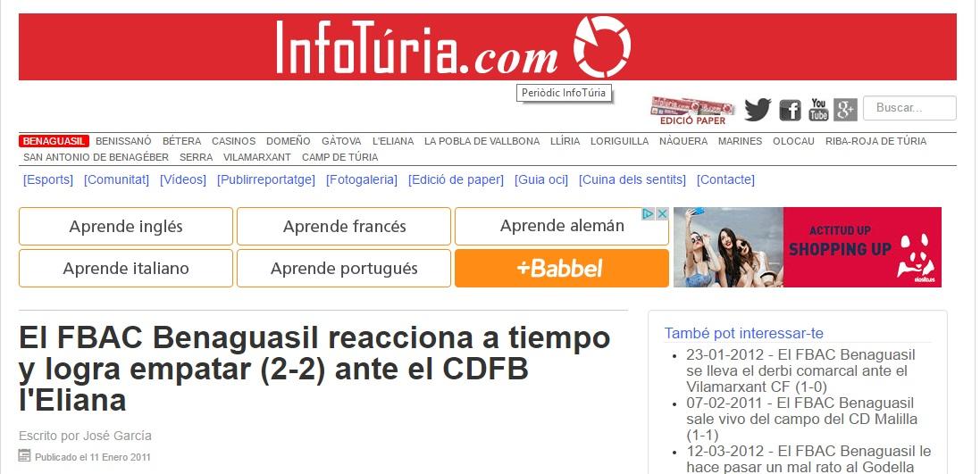 El FBAC Benaguacil Reacciona A Tiempo Y Logra Empatar (2-2) Ante El CDFB L'Eliana