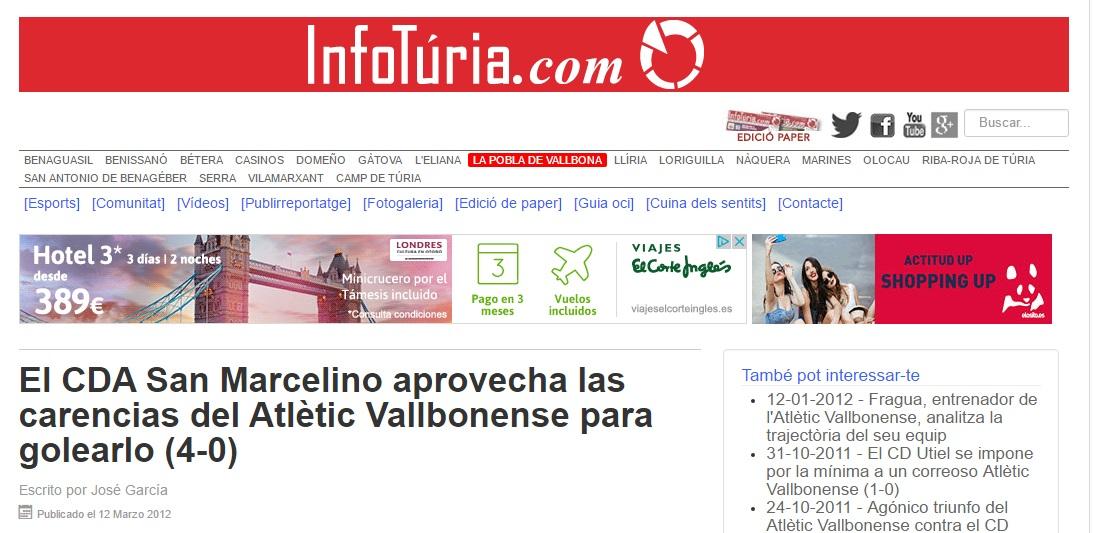 El CDA San Marcelino Aprovecha Las Carencias Del Atlétic Vallbonense Para Golearlo (4-0)