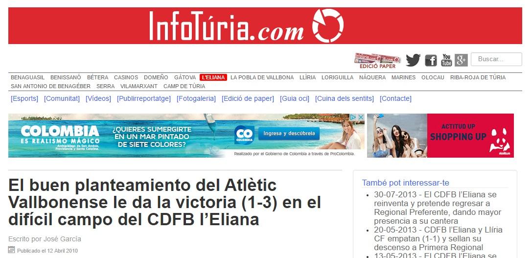 El Buen Planteamiento Del Atlétic Vallbonense Le Da La Victoria (1-3) En El Difícil Campo Del CDFB L'Eliana