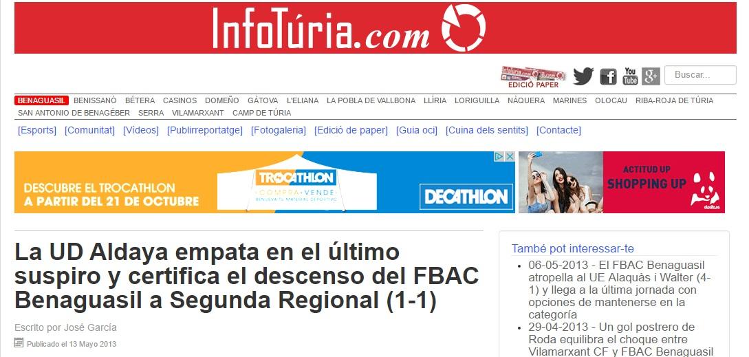 La UD Aldaia Empata En El último Suspiro Y Certifica El Descenso Del FBAC Benaguacil A Segunda Regional (1-1)