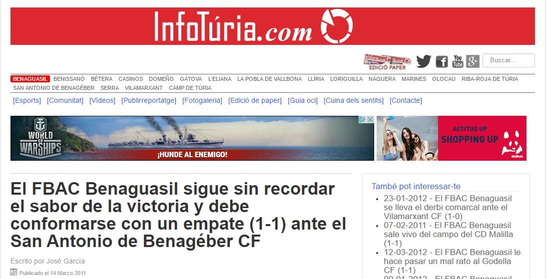 El FBAC Benaguacil Sigue Sin Recordar El Sabor De La Victoria Y Debe Conformarse Con Un Empate (1-1) Ante El San Antonio De Benagéber CF