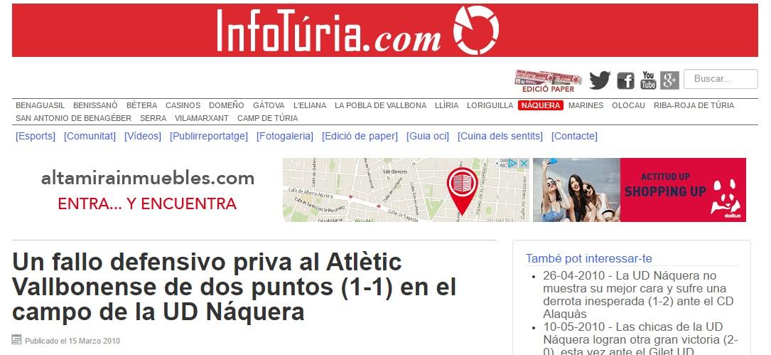 Un Fallo Defensivo Priva Al Atlétic Vallbonense De Dos Puntos (1-1) En El Campo De La UD Náquera