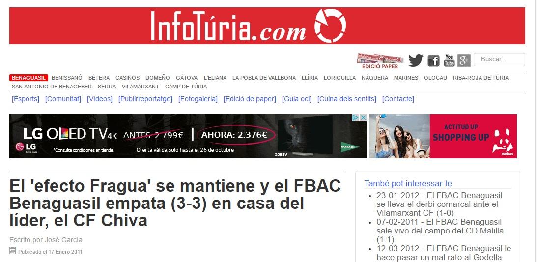 El 'efecto Fragua' Se Mantiene Y El FBAC Benaguacil Empata (3-3) En Casa Del Líder, El CF Chiva