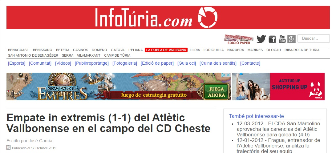 Empate In Estremis (1-1) Del Atlétic Vallbonense En El Campo Del CD Cheste