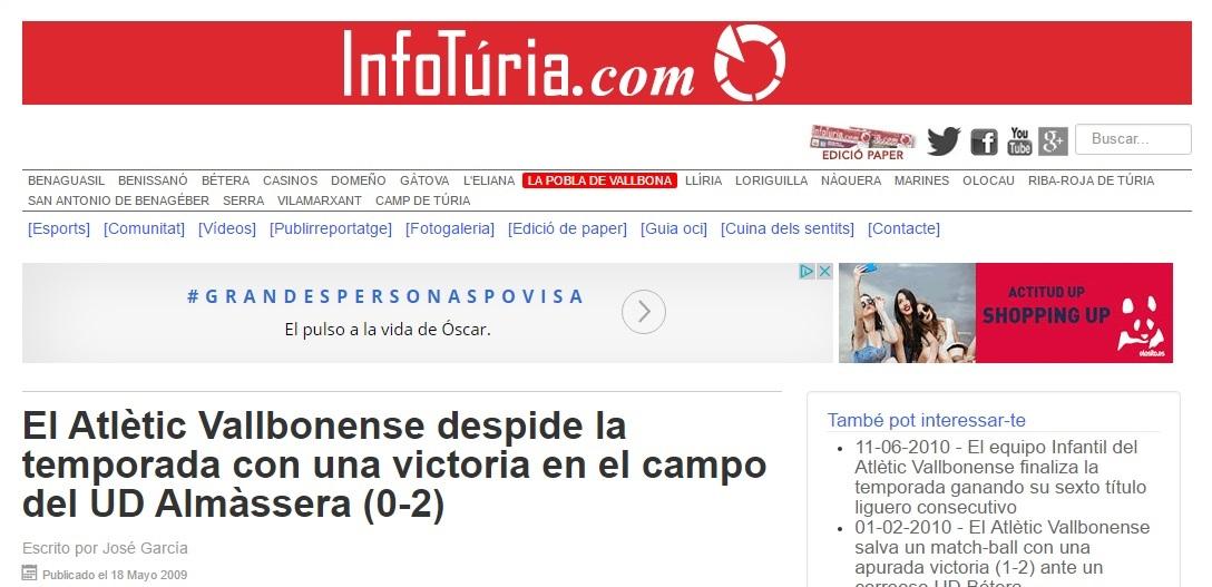 El Atlétic Vallbonense Despide La Temporada Con Una Victoria En El Campo Del UD Almàssera (0-2)