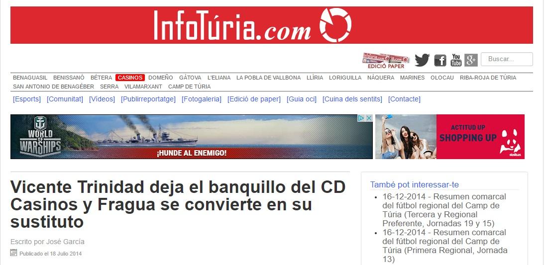 Vicente Trinidad Deja El Banquillo Del CD Casinos Y Fragua Se Convierte En Su Sustituto