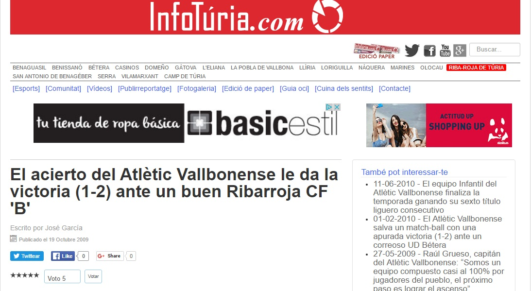 El Acierto Del Atlétic Vallbonense Le Da La Victoria (1-2) Ante Un Buen Ribarroja CF 'B'