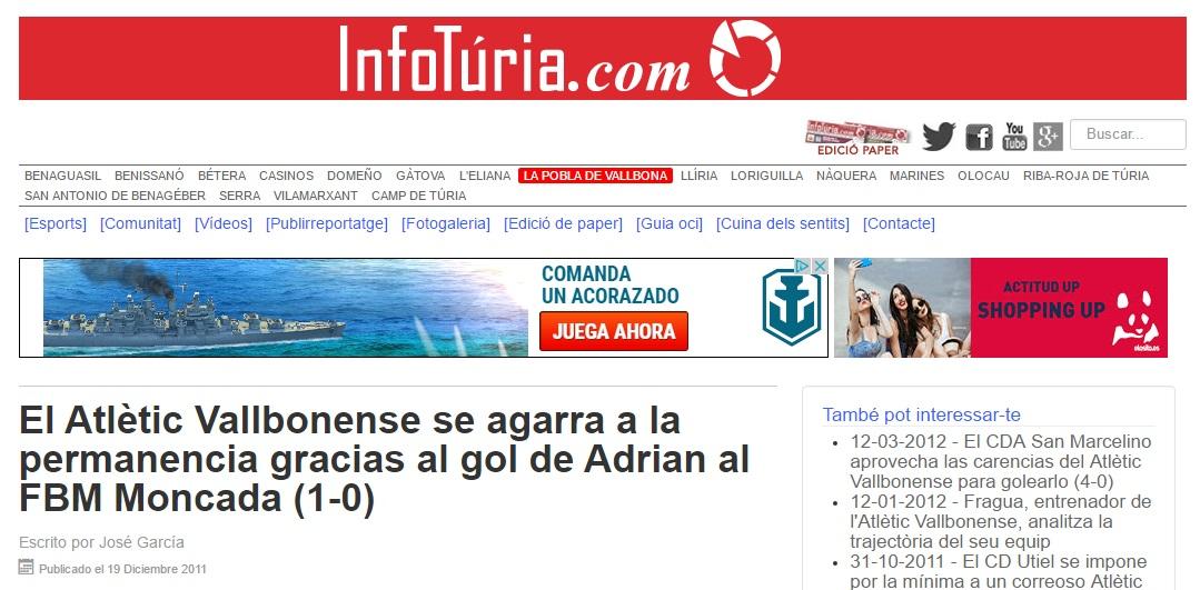 El Atlétic Vallbonense Se Agarra A La Permanencia Gracias Al Gol De Adrián Al FBM Moncada (1-0)