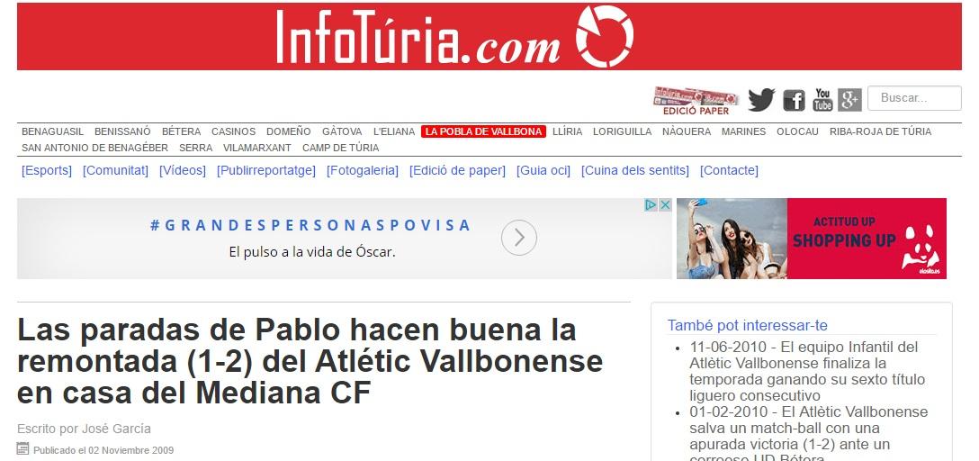Las Paradas De Pablo Hacen Buena La Remontada (1-2) Del Atlétic Vallbonense En Casa Del Mediana CF