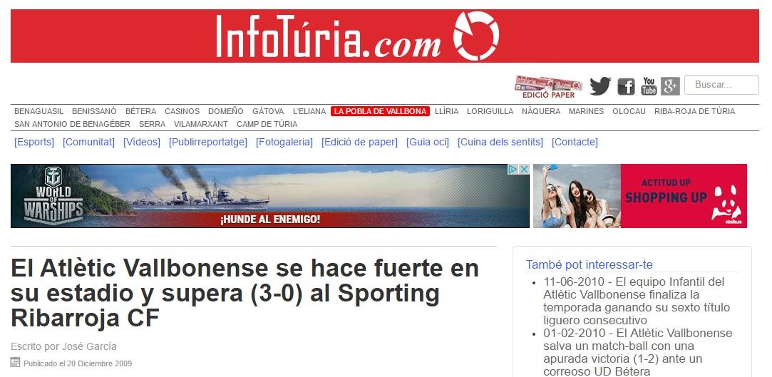 El Atlétic Vallbonense Se Hace Fuerte En Su Estadio Y Supera (3-0) Al Sporting Ribarroja CF
