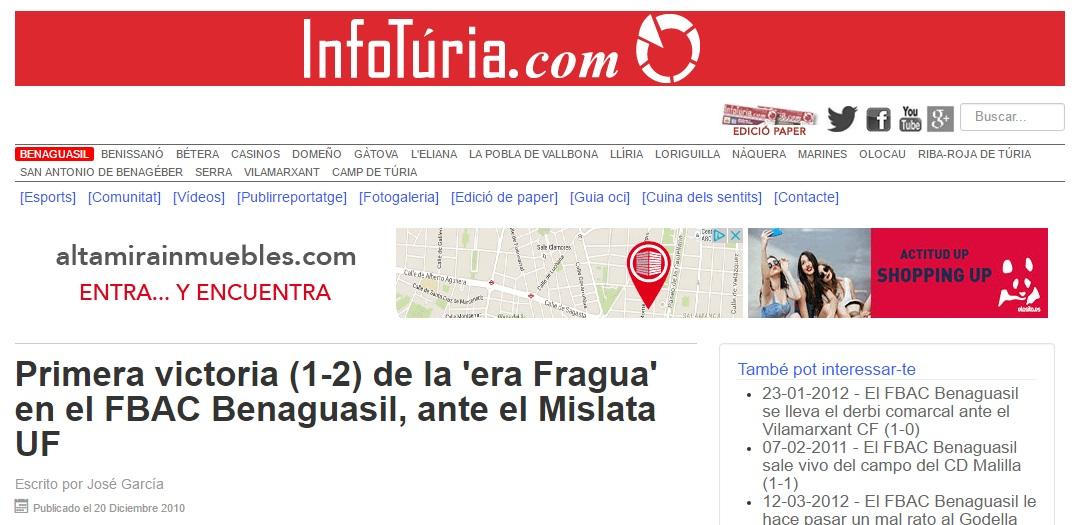 Primera Victoria (1-2) De La 'era Fragua' En El FBAC Benaguacil, Ante El Mislata UF