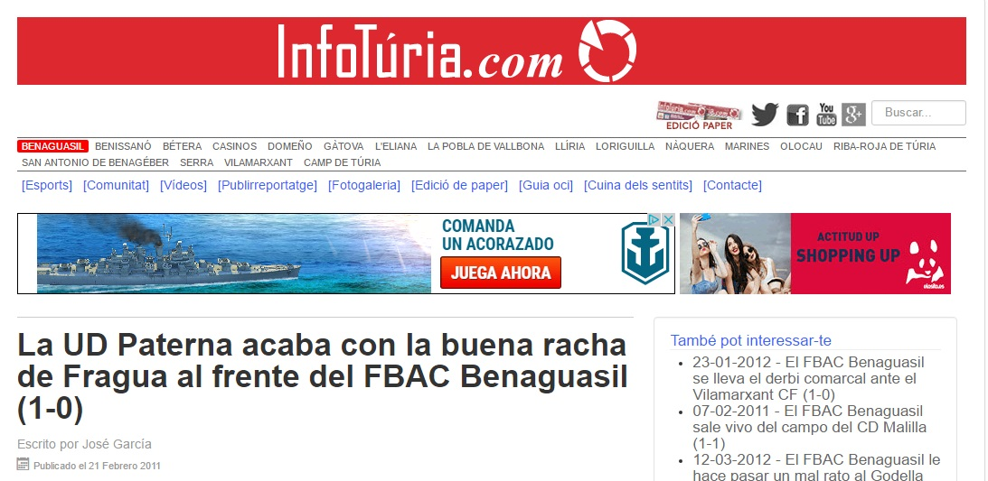 La UD Paterna Acaba Con La Buena Racha De Fragua Al Frente Del FBAC Benaguacil (1-0)