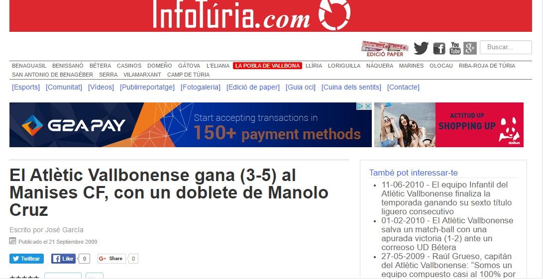 El Atlétic Vallbonense Gana (3-5) Al Manises CF, Con Un Doblete De Manolo Cruz