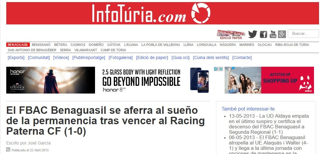El FBAC Benaguacil Se Aferra Al Sueño De La Permanencia Tras Vencer Al Racing Paterna CF (1-0)