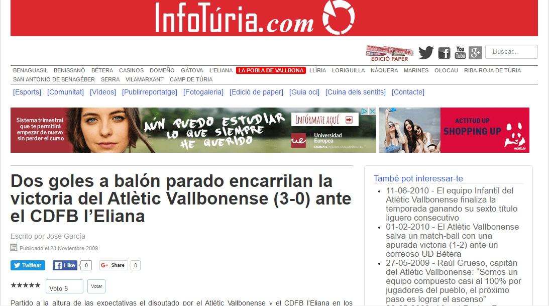 Dos Goles A Balón Parado Encarrilan La Victoria Del Atlétic Vallbonense (3-0) Ante El CDFB L'Eliana