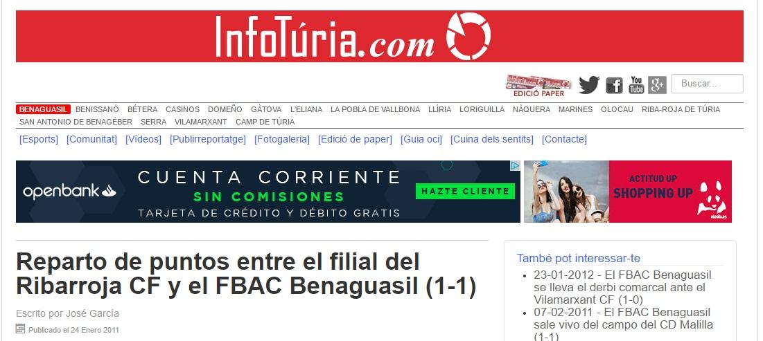 Reparto De Puntos Entre El Filial Del Ribarroja CF Y El FBAC Benaguacil (1-1)