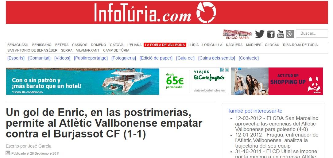 El Gol De Enric En Las Postrimetrías, Permite Al Atlétic Vallbonense Empatar Contra El Burjassot (1-1)