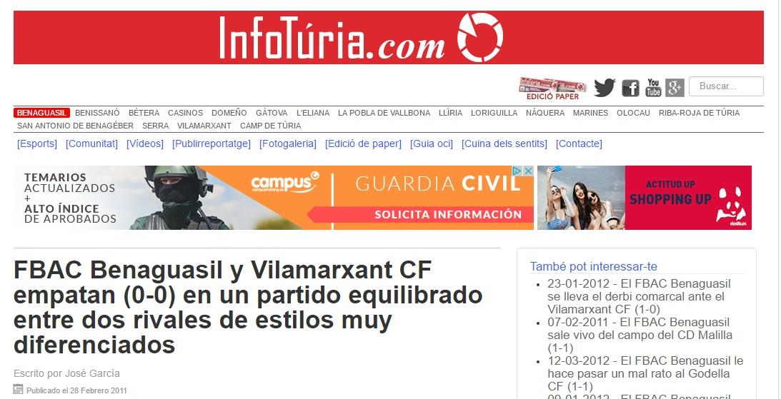 El FBAC Benaguacil Y Vilamarxant CF Empatan (0-0) En Un Partido Equilibrado Entre Dos Rivales De Estilos Muy Diferenciados
