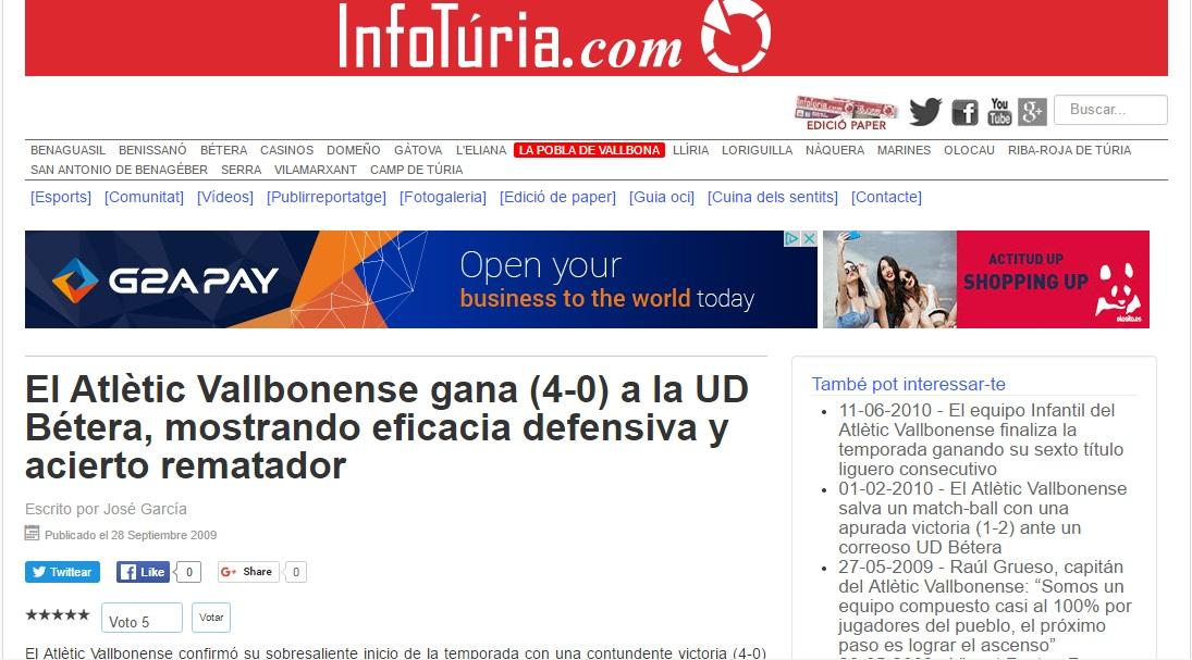 El Atlétic Vallbonense Gana (4-0) A La UD Bétera, Mostrando Eficacia Defensiva Y Acierto Rematador