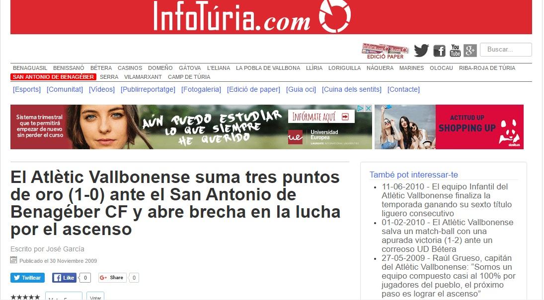 El Atlétic Vallbonense Suma Tres Puntos De Oro (1-0) Ante El San Antonio De Benagéber CF Y Abre Una Brecha En La Lucha Por El Ascenso