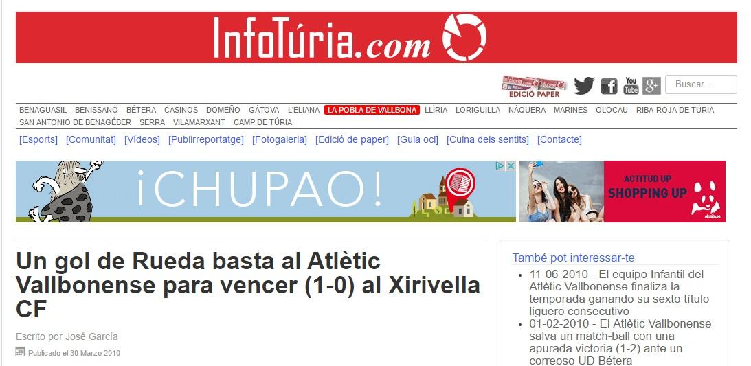 Un Gol De Rueda Basta Al Atlétic Vallbonense Para Vencer (1-0) Al Xirivella CF