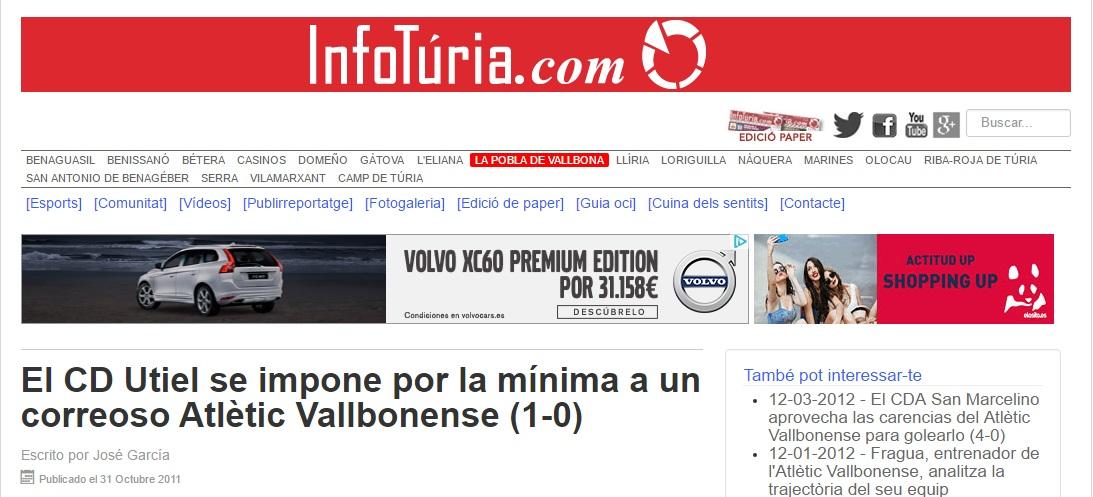 El CD Utiel Se Impone Por La Mínima A Un Correoso Atlétic Vallbonense (1-0)