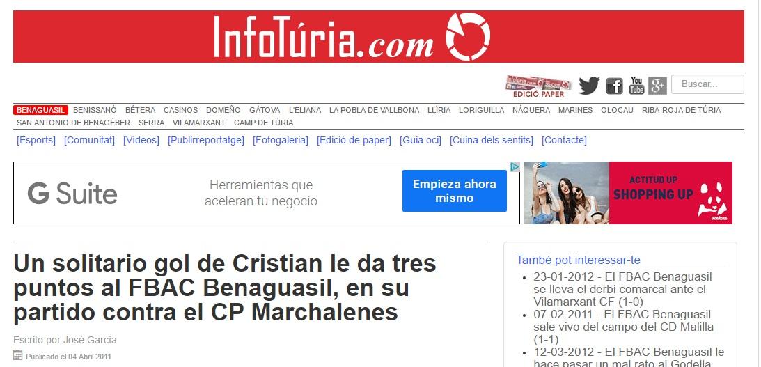 Un Solitario Gol De Cristian, Le Da Tres Puntos Al FBAC Benaguacil, En Su Partido Contra El CP Marchalenes