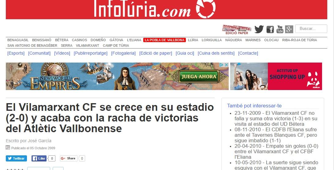 El Vilamarxant CF Se Crece En Su Estadio (2-0) Y Acaba Con La Racha De Victorias Del Atlétic Vallbonense