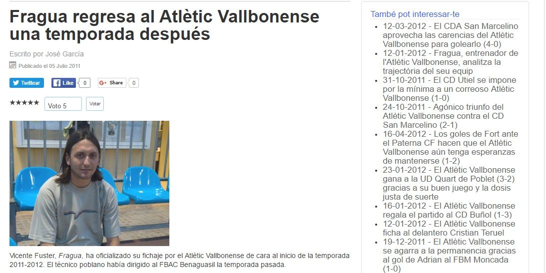 Fragua Regresa Al Atlétic Vallbonense Una Temporada Después