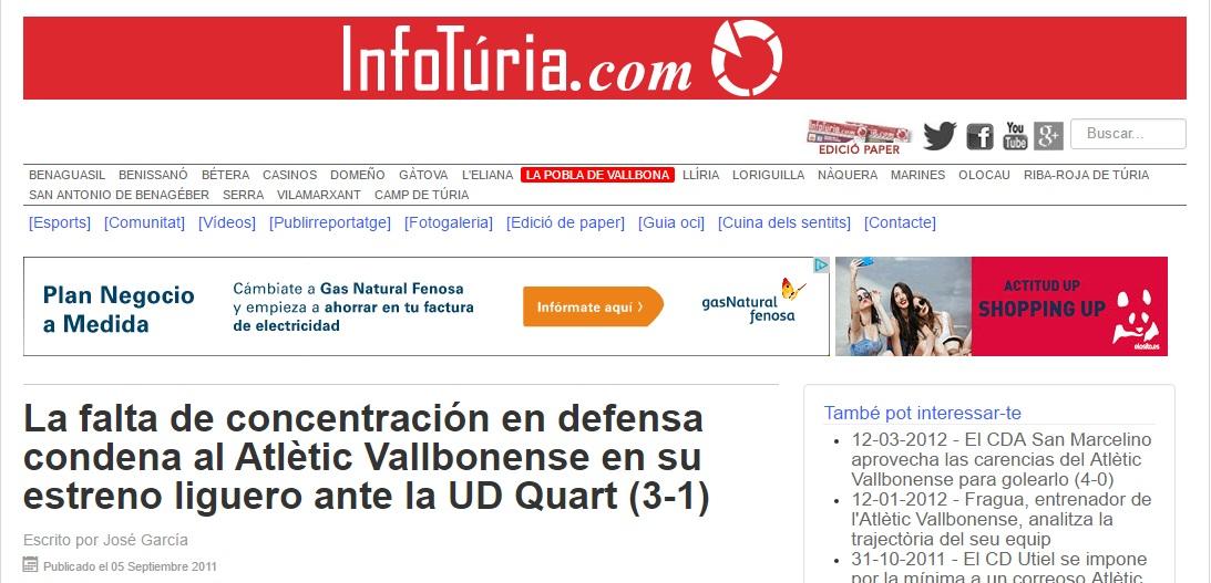 La Falta De Concentración En Defensa Condena Al Atlétic Vallbonense En Su Estreno Liguero Ante La UD Quart (3-1)