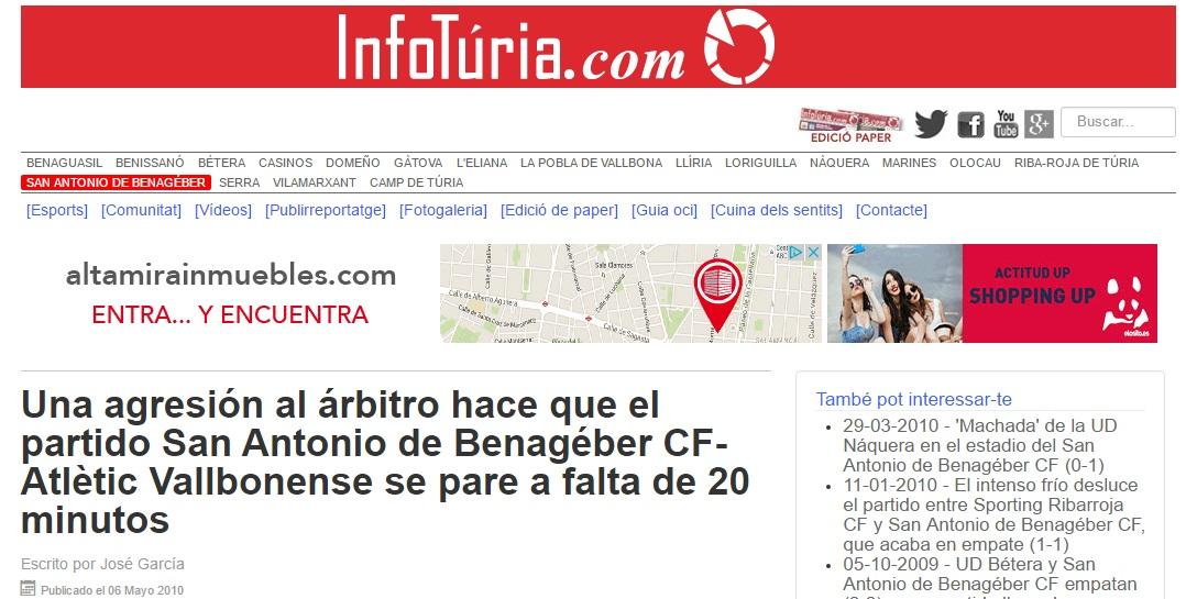 Una Agresión Al Arbitro Hace Que El Partido San Antonio De Benagéber CF – Atlétic Vallbonense Se Pare A Falta De 20 Minutos