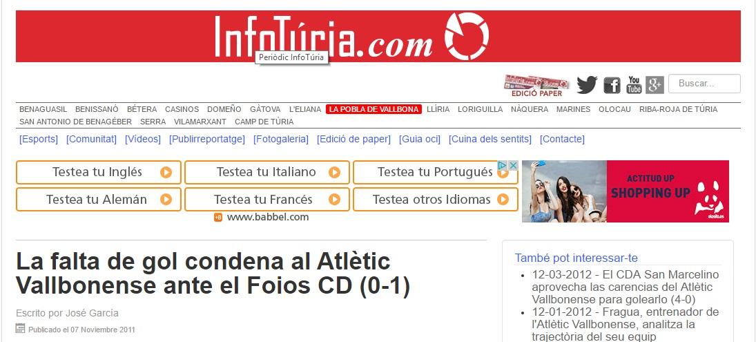 La Falta De Gol Condenan Al Atlétic Vallbonense Ante El Foios CD (0-1)