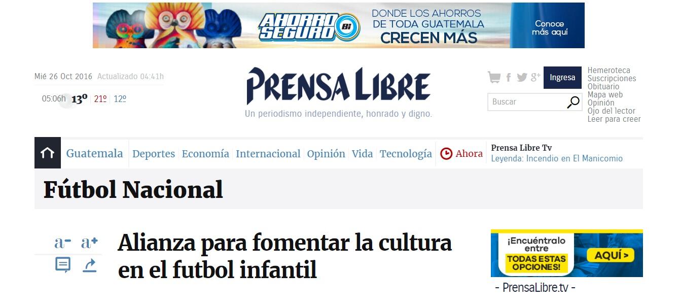 Alianza Para Fomentar La Cultura En El Fútbol Infantil